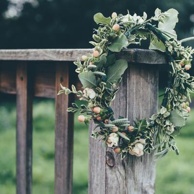 Flower crown on a bridge